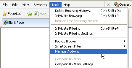 Click Tools and select Manage Add-ons in IE8