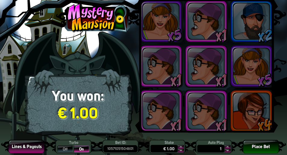Mystery Mansion Winning Screen