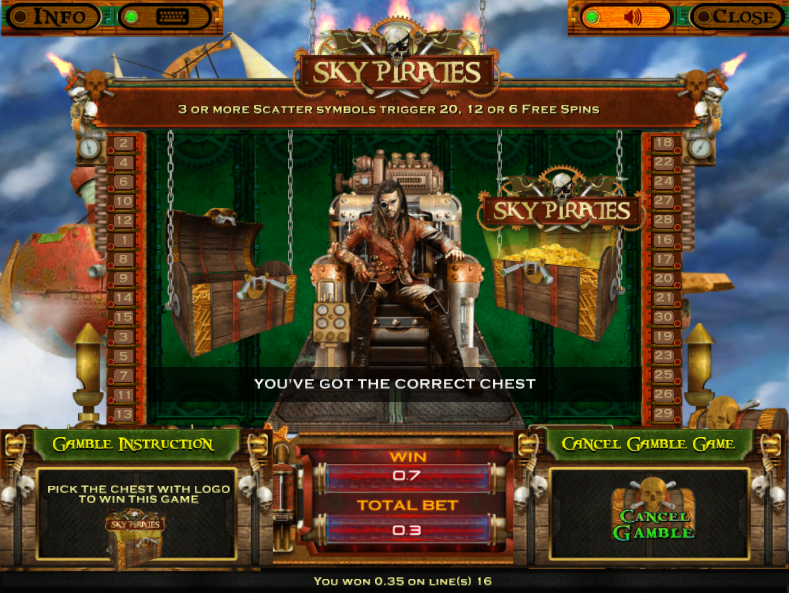 Sky Pirates Gamble Winning Example