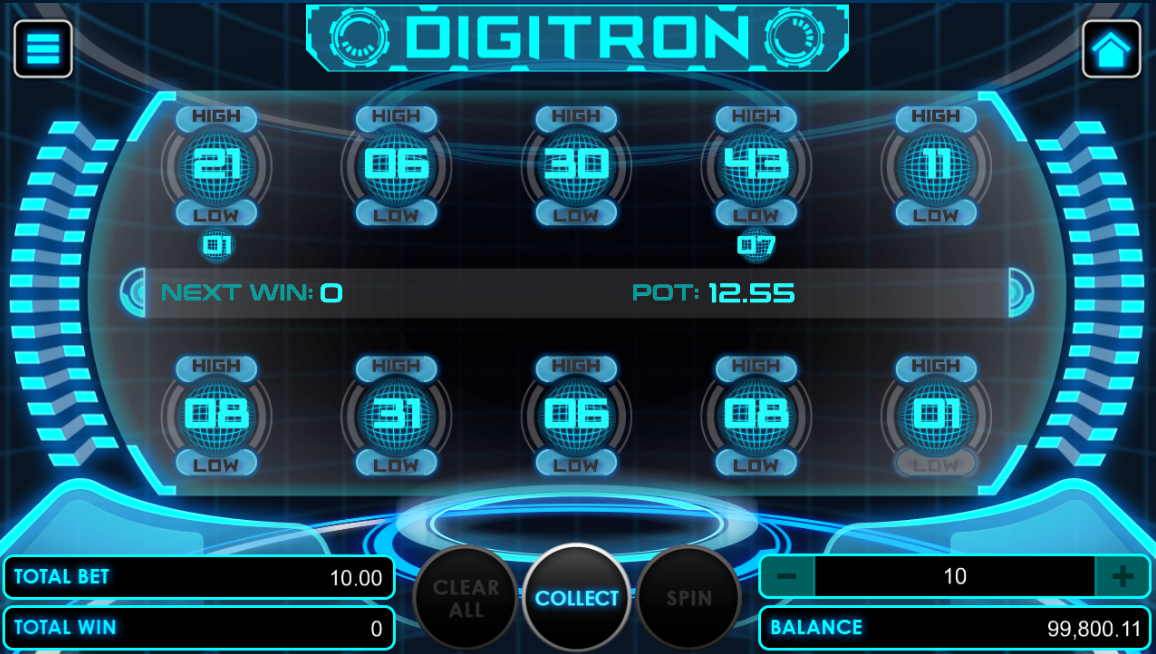 Digitron game with betting options correctly guessed