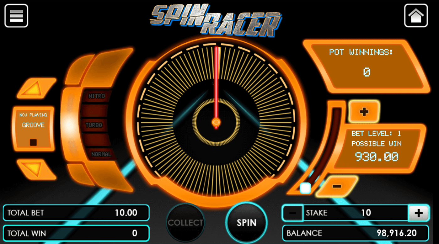 Spin Racer game upon opening the game