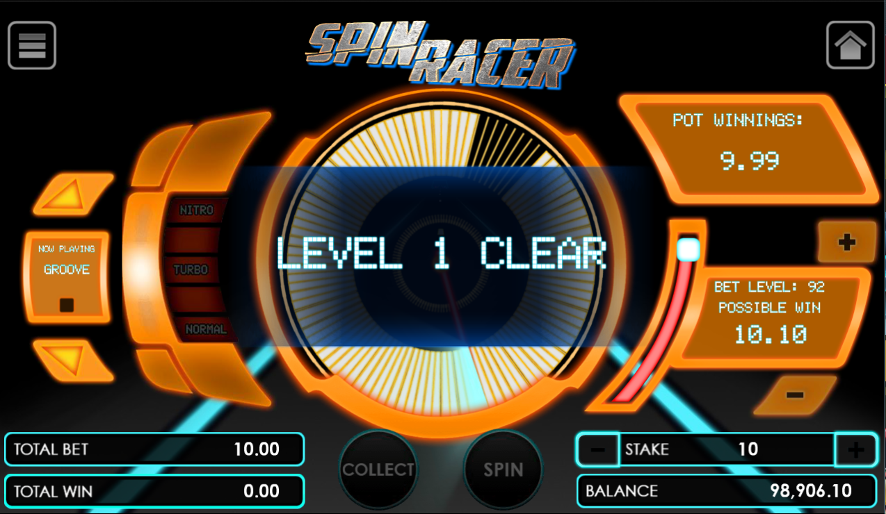 Spin Racer game after clicking spin