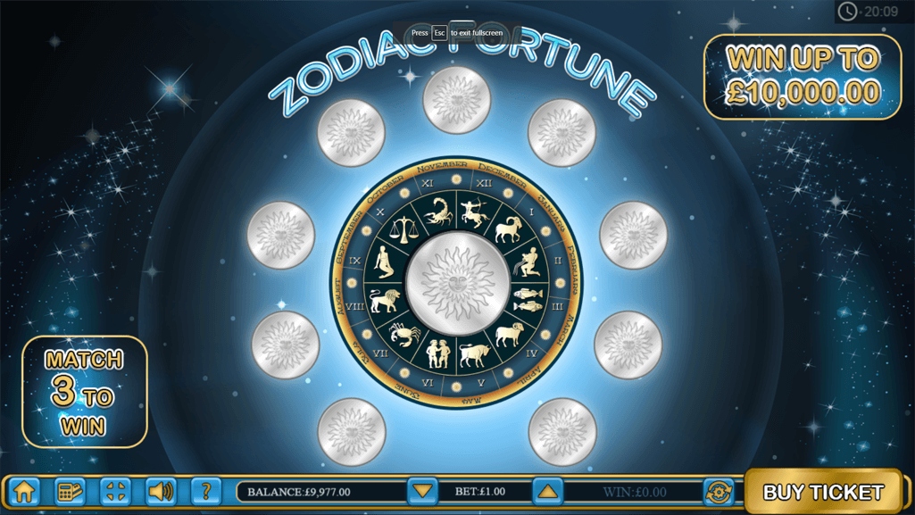 Zodiac Fortune game starting scene.png