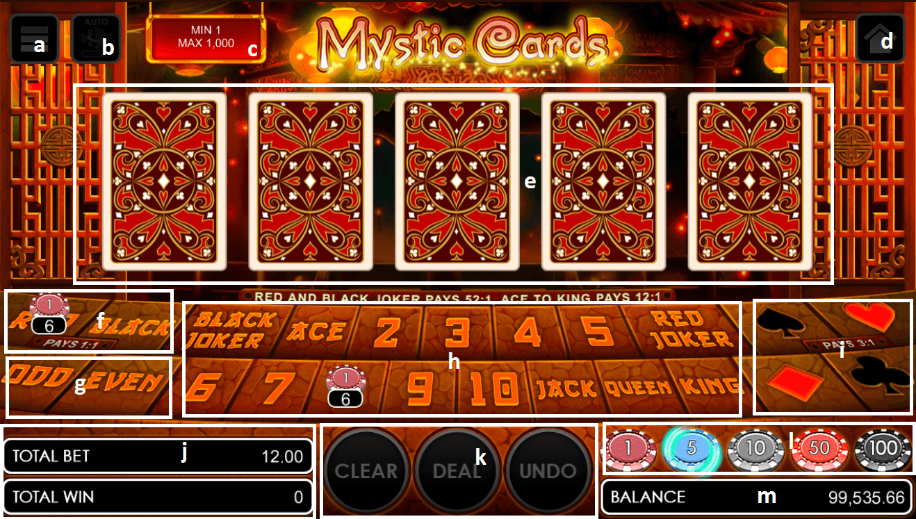 Mystic cards game user interface