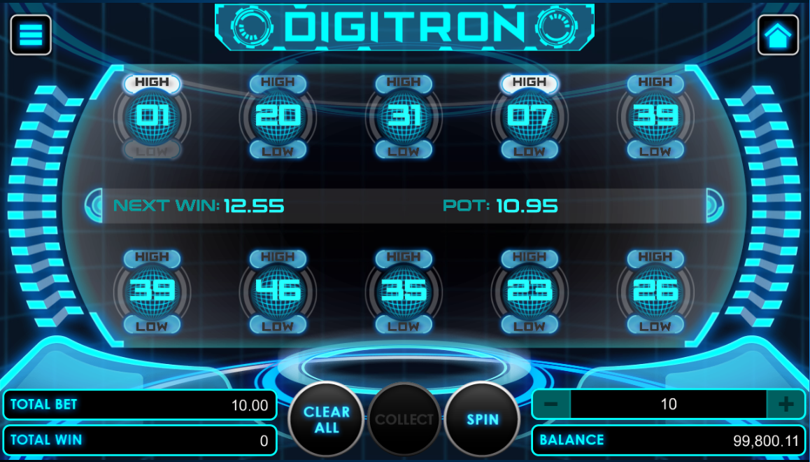 Digitron game with betting options selected
