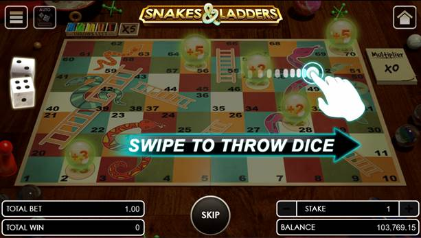 Snakes and Ladders swipe to throw dice