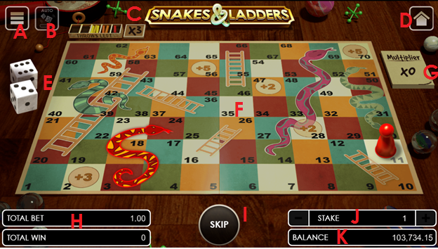 Snakes and Ladders user interface