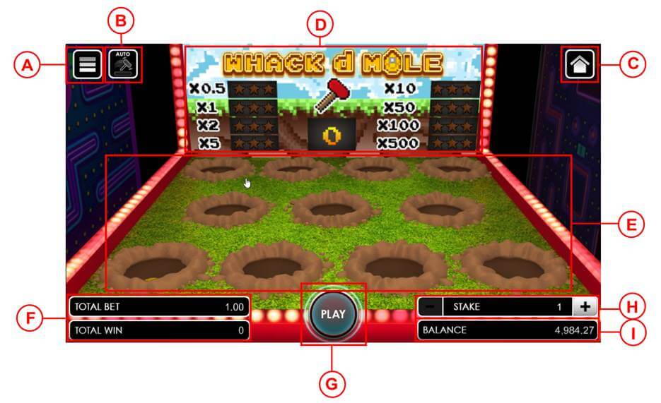Whack d Mole game user interface