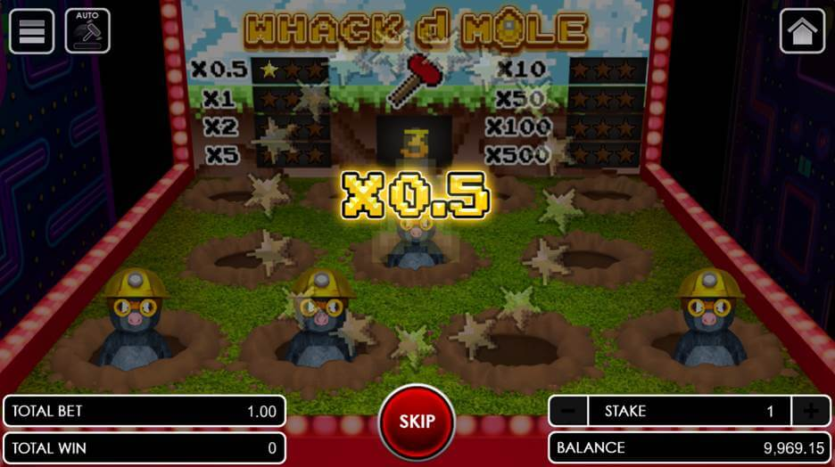 Whack d Mole hitting a mole with a prize multiplier
