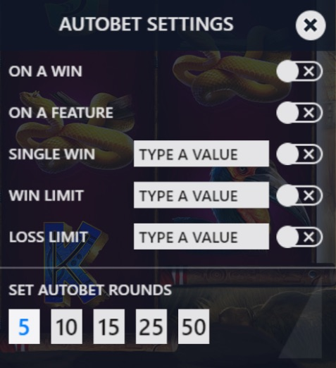 Rumble Rhino autobet settings