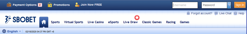 Sign up at SBOBET Homepage