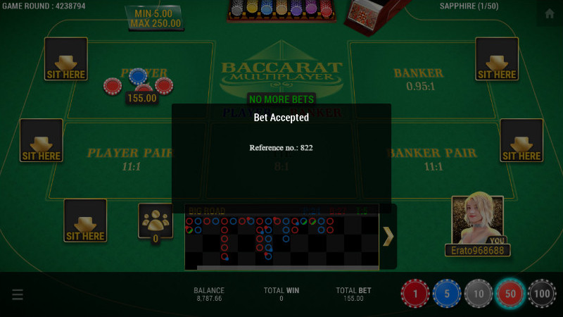 SBOBET Casino Games - Baccarat Multiplayer Bet Accepted