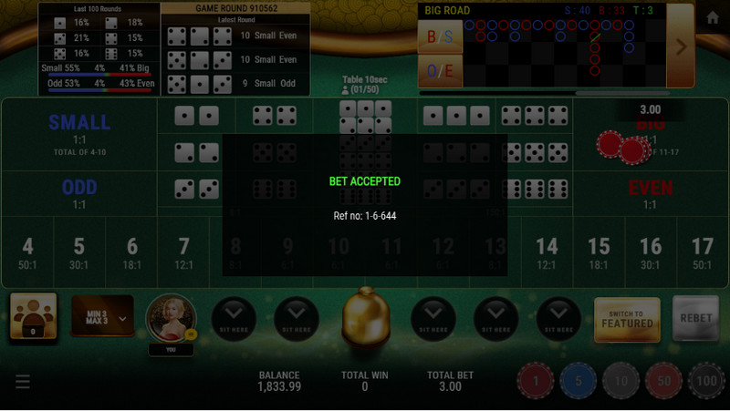 SBOBET Casino Games - Sic Bo Multiplayer Bet Accepted