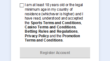 Tick to confirm you have read all the rules to register SBOBET account
